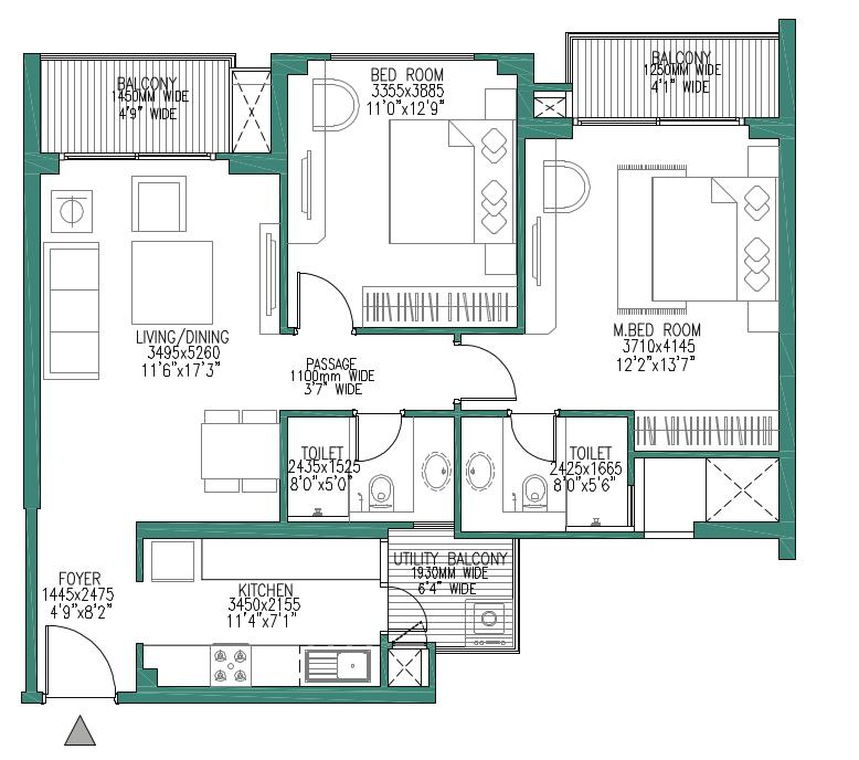 Godrej woods 3 bhk floor plan